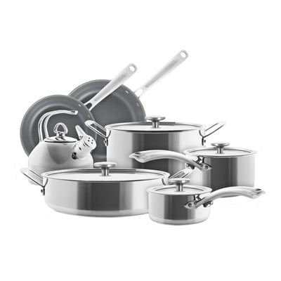 3.clad 10 piece stainless cookware set with classic stainless kettle