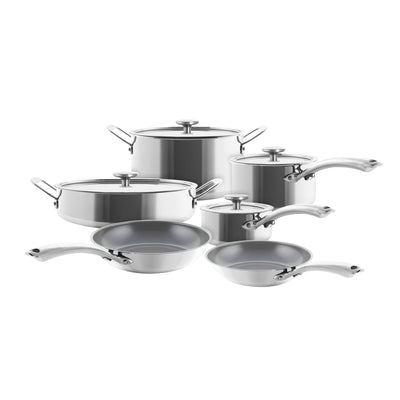 3.clad 10 piece cookware set polished stainless fry pan saucepan stockpot sauteuse and 1 qt saucepan with lids
