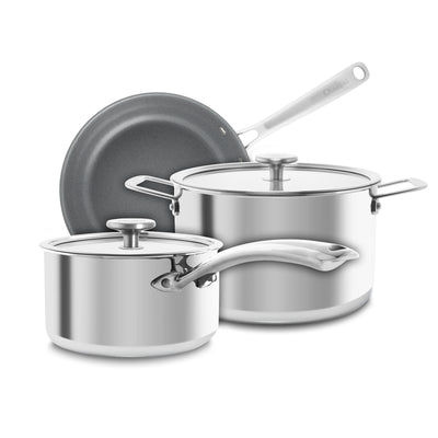 3.clad 5 piece essential set fry pan saucepan stockpot