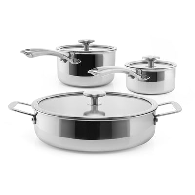 3.clad 6 piece professional set sauteuse saucepan 2.5 qt and 1 qt.