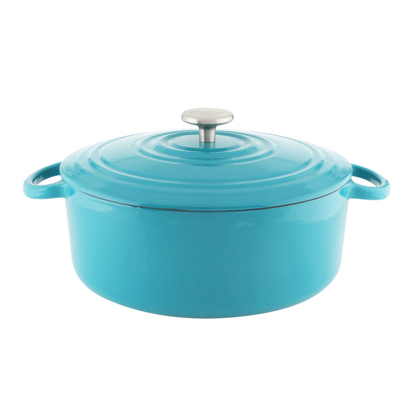 Turquoise cast-iron round dutch oven with premium enamel interior and exterior 7 quart stainless knob