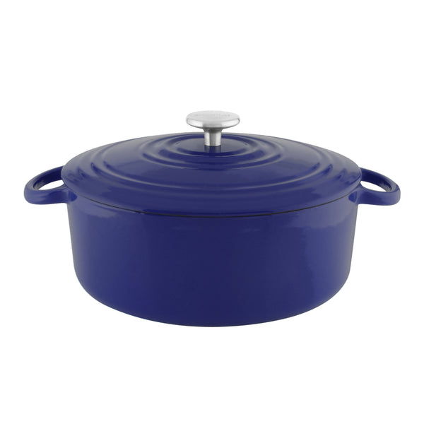 Blue cast-iron round dutch oven with premium enamel interior and exterior 7 quart stainless knob