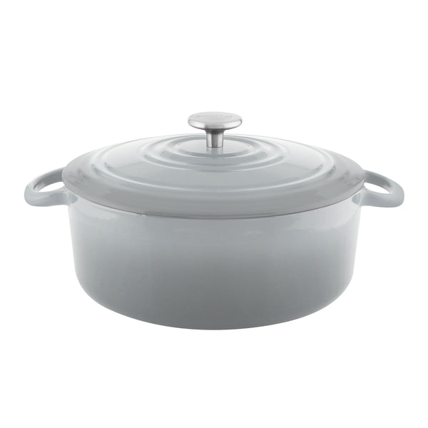 Gray cast-iron round dutch oven with premium enamel interior and exterior 7 quart stainless knob