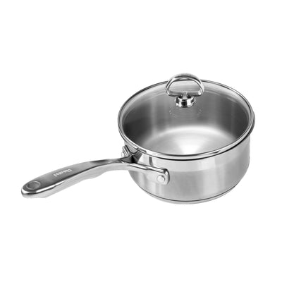 Image of Induction 21 stainless steel 2 quart saucepan on white background