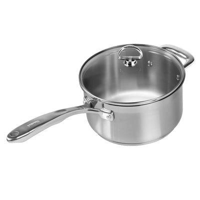 Induction 21 Steel Saucepan with Lid 3.5 Quarts on white background