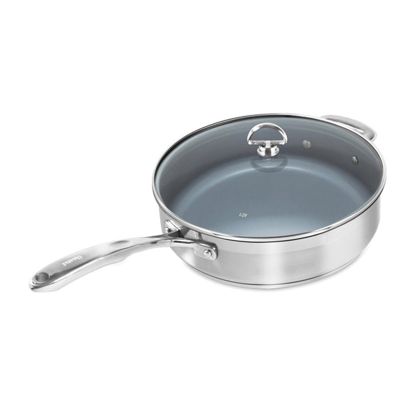Induction 21 Steel Ceramic Coated Saute Skillet with Lid 5 Quarts