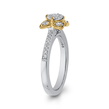 Load image into Gallery viewer, 10K Two Tone Gold 1/2 ct Round White Diamond Flower Style Fashion Ring