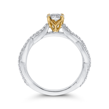 Load image into Gallery viewer, 10K Two Tone Gold 1/2 ct Round White Diamond Halo Fashion Ring