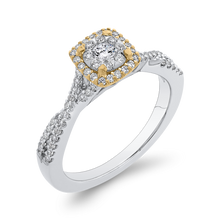 Load image into Gallery viewer, 10K Two Tone Gold 1/2 ct Round Diamond Crossover Shank Fashion Ring