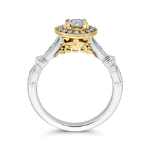 Load image into Gallery viewer, 10K Two Tone Gold 1/3 ct Round White Diamond Double Halo Fashion Ring