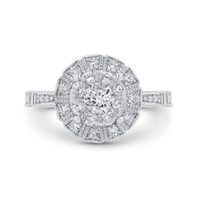 Load image into Gallery viewer, 14k white gold round diamond halo engagement ring with split shank (semi-mount)