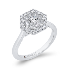 Load image into Gallery viewer, 14K White Gold Round Dimaond Hexagon Shape Halo Engagement Ring