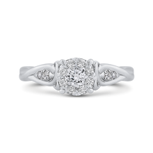 Load image into Gallery viewer, 14k white gold round diamond cathedral style engagement ring (semi-mount)
