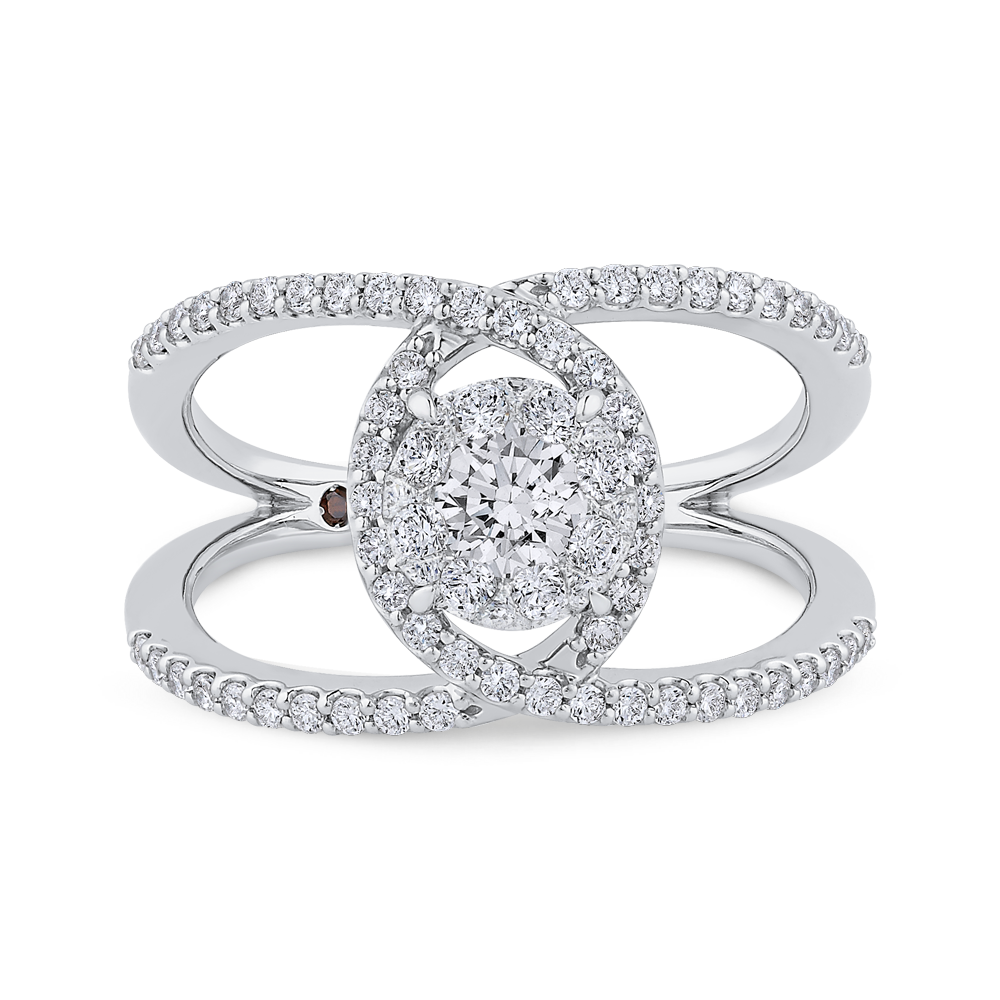 14k white gold round diamond three-stone engagement ring (semi-mount)