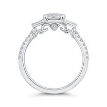 Load image into Gallery viewer, 14K White Gold Round Cut Diamond Engagement Ring with Sapphire