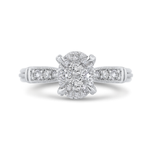 Load image into Gallery viewer, 14k white gold round diamond engagement ring with split shank (semi-mount)