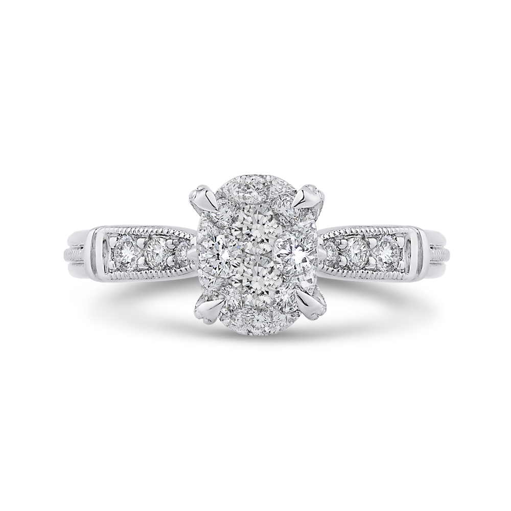 14k white gold round diamond engagement ring with split shank (semi-mount)