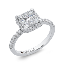 Load image into Gallery viewer, 14K White Gold Round Diamond Princess Shape Halo Engagement Ring