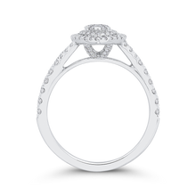 Load image into Gallery viewer, 14K White Gold Round Diamond Marquise Shape Double Halo Engagement Ring with Split Shank