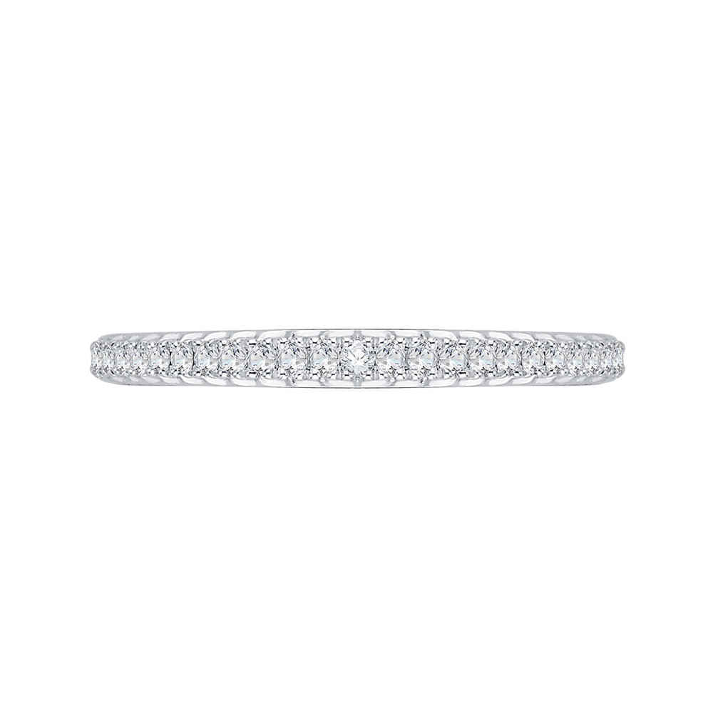 round diamond half-eternity wedding band in 14k white gold