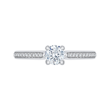 Load image into Gallery viewer, round diamond cathedral style engagement ring in 14k white gold (semi-mount)