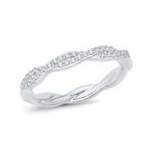 Load image into Gallery viewer, 14K White Gold Round Diamond Criss-Cross Wedding Band