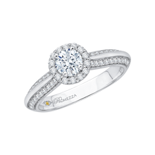 Load image into Gallery viewer, 14K White Gold Round Cut Diamond Halo Cathedral Style Engagement Ring