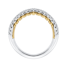 Load image into Gallery viewer, 14K Two-Tone Gold Round Diamond Half-Eternity Wedding Band