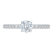 Load image into Gallery viewer, round cut diamond engagement ring in 14k white gold (semi-mount)
