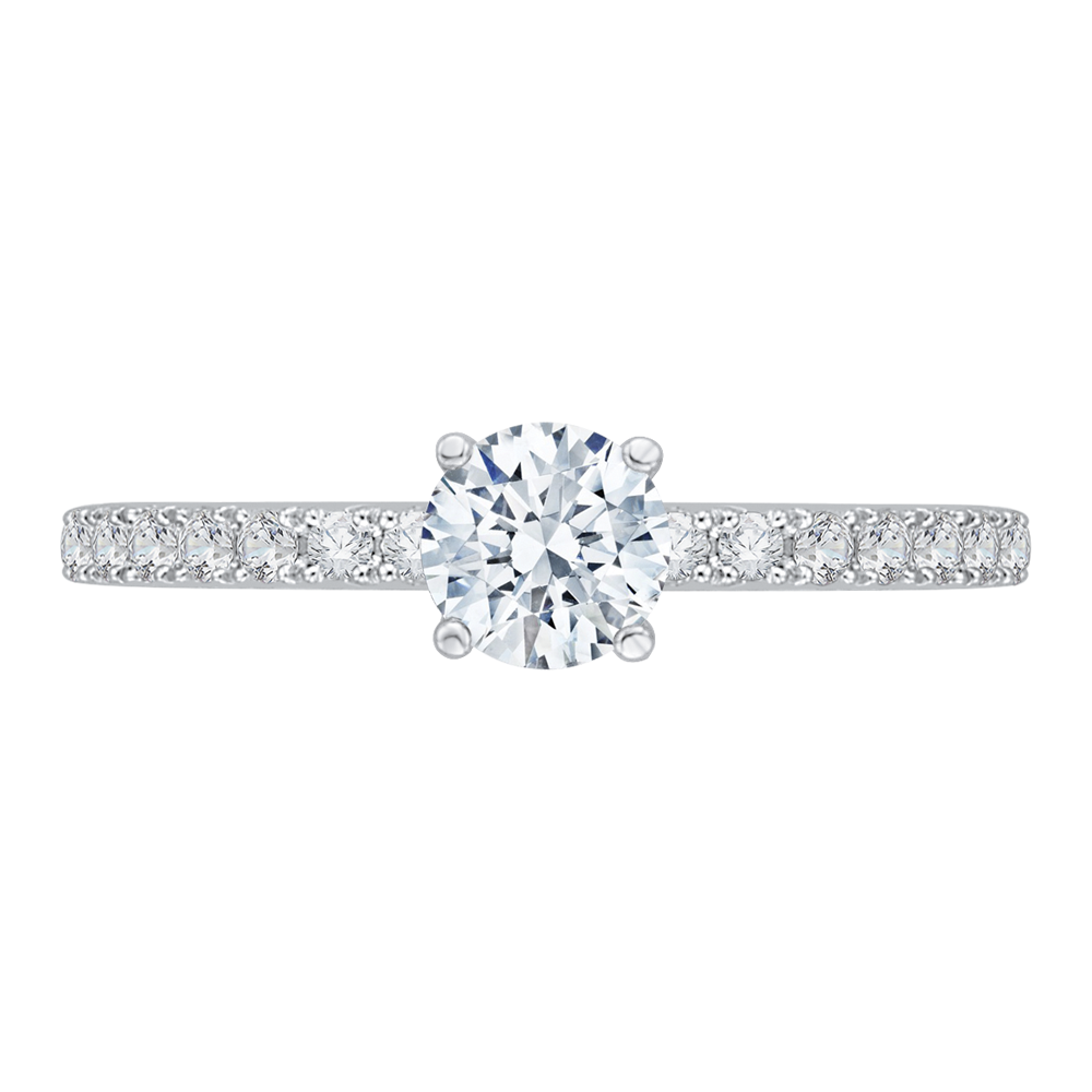 round cut diamond engagement ring in 14k white gold (semi-mount)