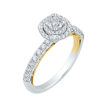 Load image into Gallery viewer, 14K Two-Tone Gold Round Diamond Double Halo Engagement Ring