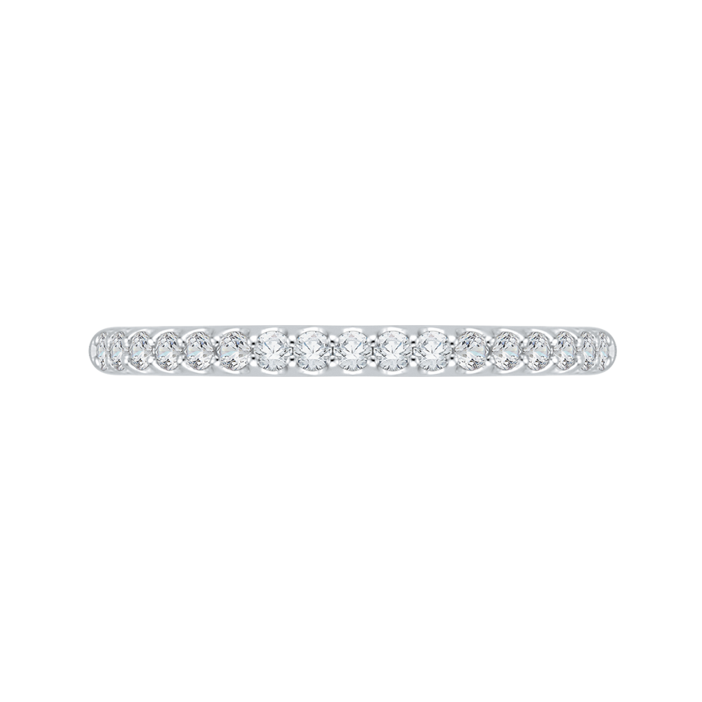 14k two-tone gold round diamond half-eternity wedding band with euro shank