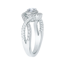 Load image into Gallery viewer, 14K White Gold Round Diamond Criss-Cross Halo Engagement Ring
