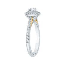 Load image into Gallery viewer, Round Diamond Double Halo Engagement Ring In 14K Two-Tone Gold