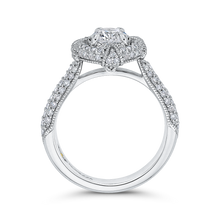 Load image into Gallery viewer, 14K White Gold Round Diamond Cathedral Style Halo Engagement Ring