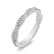 Load image into Gallery viewer, 14K White Gold Round Diamond Chriss-Cross Wedding Band