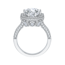 Load image into Gallery viewer, 18K White Gold Round Cut Diamond Octagon Shape Halo Engagement Ring (Semi-Mount)