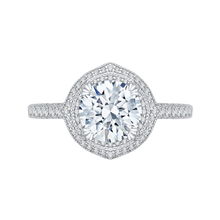 Load image into Gallery viewer, 14k white gold princess diamond double halo engagement ring with split shank (semi-mount)