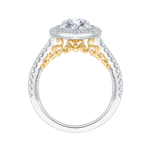 Load image into Gallery viewer, 18K Two-Tone Gold Round Cut Double Halo Diamond Engagement Ring (Semi-Mount)