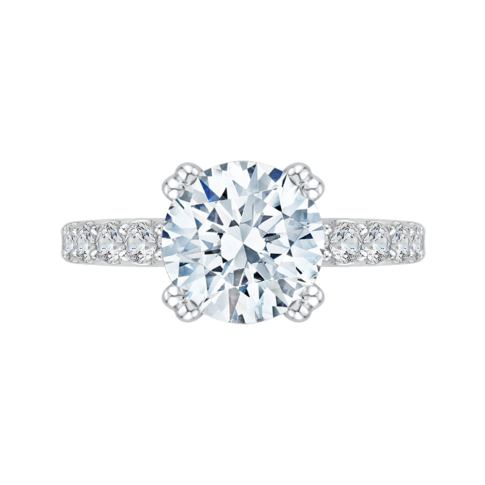 14k white gold princess diamond engagement ring with split shank (semi-mount)