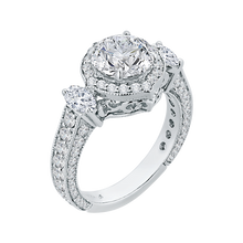 Load image into Gallery viewer, 18K White Gold Round Cut Diamond Halo Engagement Ring (Semi-Mount)