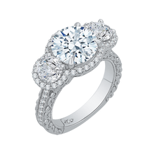 Load image into Gallery viewer, 18K White Gold Round Cut Diamond Three-Stone Halo Engagement Ring (Semi-Mount)