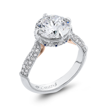 Load image into Gallery viewer, 18K Two-Tone Gold Round Diamond Engagement Ring with Sapphire (Semi-Mount)