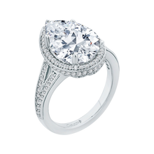 Load image into Gallery viewer, 18K White Gold Pear Diamond Halo Engagement Ring with Split Shank (Semi-Mount)