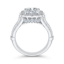 Load image into Gallery viewer, 18K White Gold Emerald Cut Diamond Halo Engagement Ring (Semi-Mount)