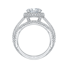 Load image into Gallery viewer, 18K White Gold Criss-Cross Shank Oval Diamond Halo Engagement Ring (Semi-Mount)