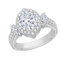 Load image into Gallery viewer, 18K White Gold Oval Cut Diamond Halo Engagement Ring (Semi-Mount)