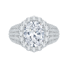 Load image into Gallery viewer, 14k white gold cushion diamond halo engagement ring with euro shank (semi-mount)