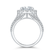 Load image into Gallery viewer, 18K White Gold Oval Diamond Halo Engagement Ring (Semi-Mount)