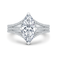 Load image into Gallery viewer, cushion diamond engagement ring with split shank in 14k white gold (semi-mount)